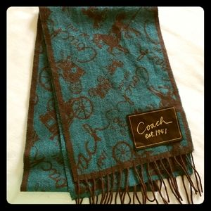 Like New Coach Teal & Brown Wool/Cashmere Scarf